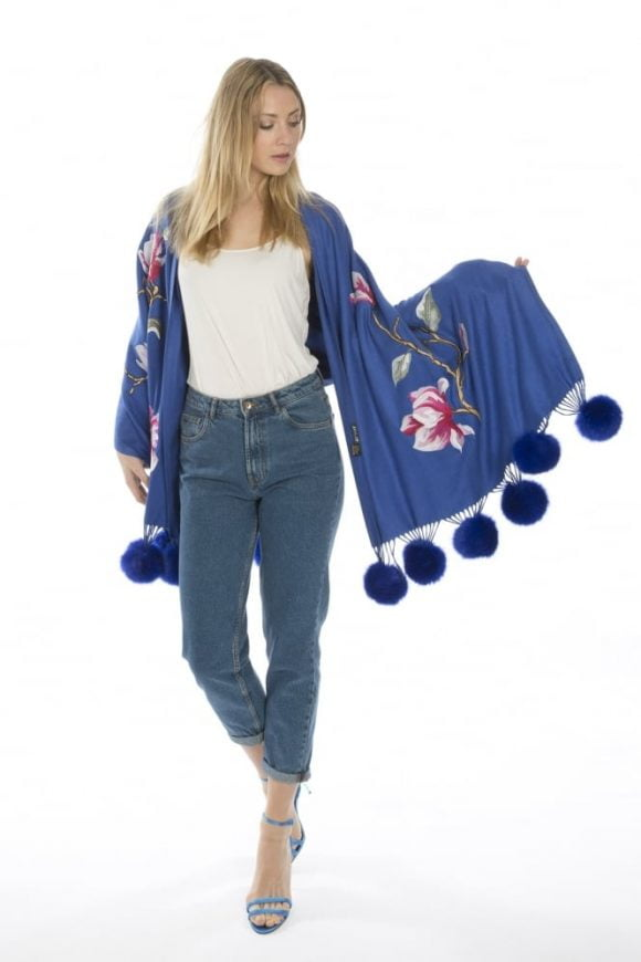 Jayley Royal Blue Wrap Style Front Design Detail