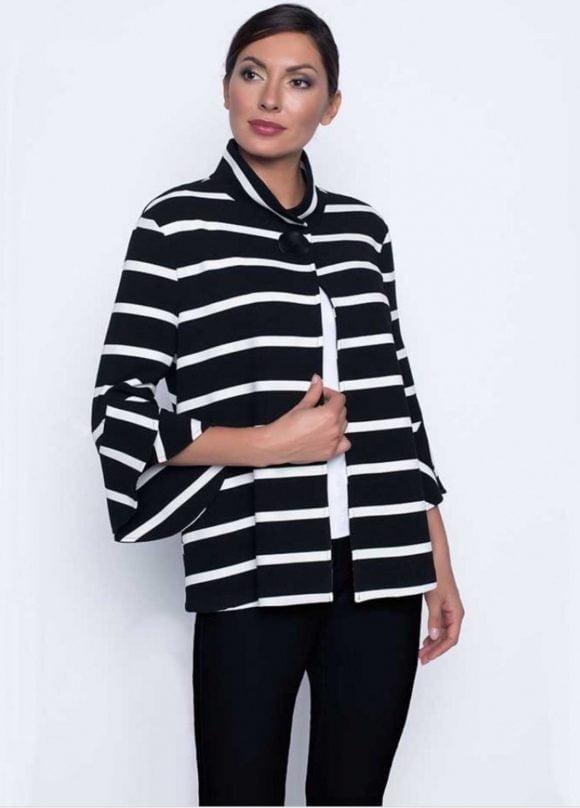 Frank Lyman Black/White Striped Jacket Style Front Side Detail