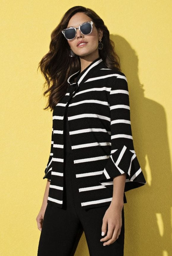 Frank Lyman Black/White Striped Jacket Style Full View